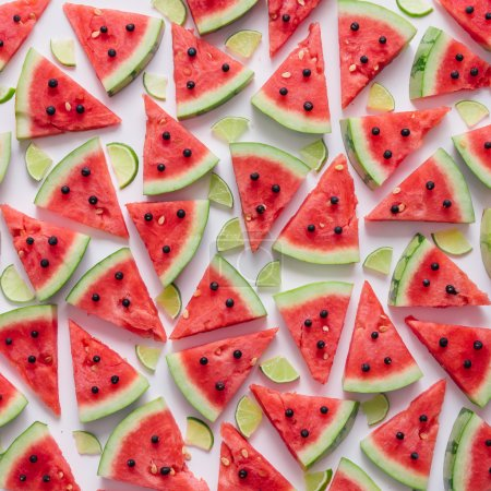 Photo for Watermelon and lime slices pattern. Flat lay. Summer concept. - Royalty Free Image