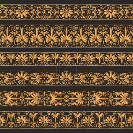 Golden antique borders on the dark brown background.