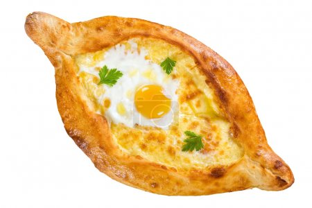 Georgian khachapuri with egg isolated on white, close-up
