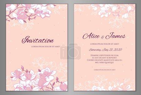 Illustration pour Élégant fond floral pour votre carte d'invitation de mariage, flyer ou carte de voeux. Modèle avec une branche fleurie. Magnolia fleurs fond vectoriel . - image libre de droit