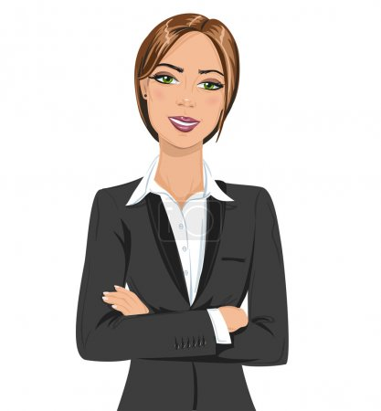 Photo for Beautiful businesswoman portrait. Smiling business woman standing folded hand, wearing black business suit, isolated on white background. - Royalty Free Image