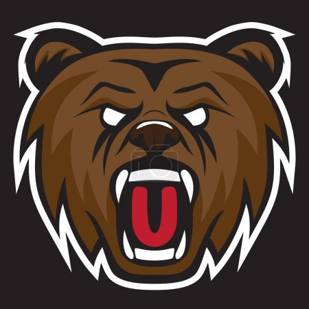 Grizzly bear modern logo for a sport team. Premade vector logotype.