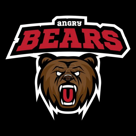 Grizzly bear modern logo for a sport team. Premade vector logotype with naming.