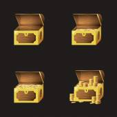 Set of game icons of gold coins and chests Gui asset elements collection
