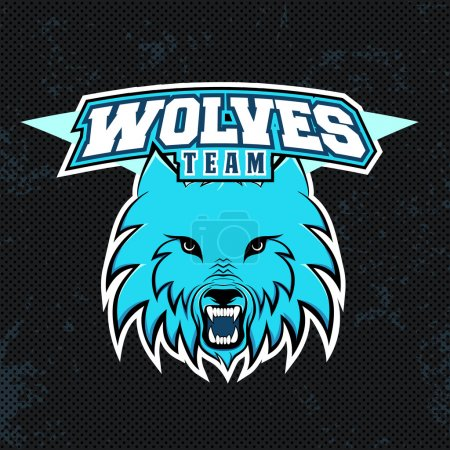 Blue wolves modern logo for a sport team. Premade logotype with name