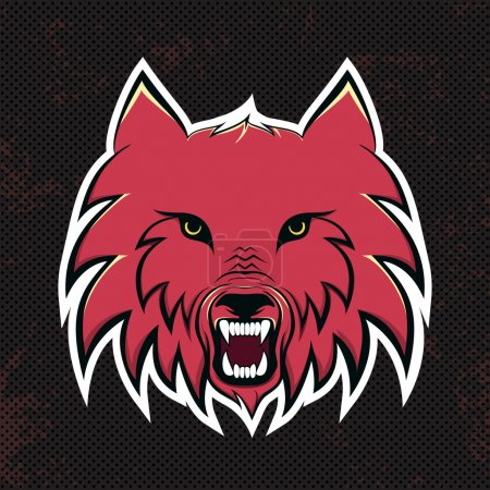 Red wolves modern logo for a sport team. Premade logotype