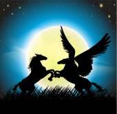 fantasy horses silhouettes - pegasus and horse