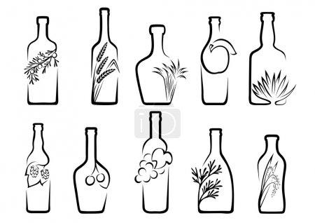 Icons alcoholic beverages