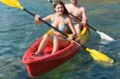 Couple on canoe