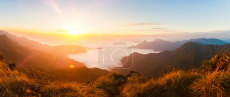 Panorama of beautiful sunrise