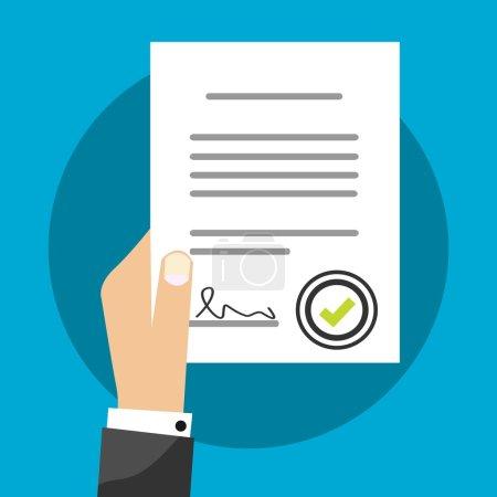 Acuerdo de contrato de tenencia de hombre de negocios Vector Ilustración Firmado Tratado Papel, Símbolo de documento legal con sello, Documentación Plano Signo Diseño moderno aislado