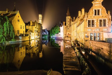 Brugge by Night Reflected in Water