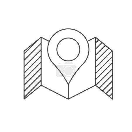 Photo pour Carte à lignes minces et icône en épingle. Pictogramme de contour de position GPS . - image libre de droit