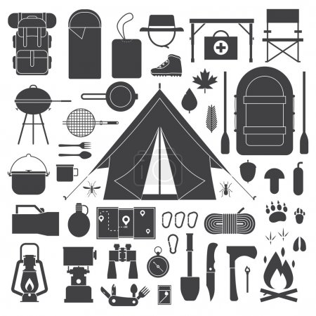 Hiking and Camping Icons Set.