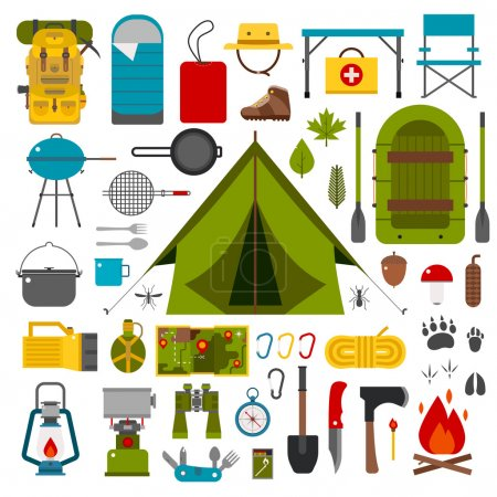 Illustration for Camping icons collection. Camping kit of hike outdoor elements. Camping gear collection. Binoculars, bowl, barbecue, boat, lantern, shoes, hat, tent and other camping tools and items. Vector on white - Royalty Free Image