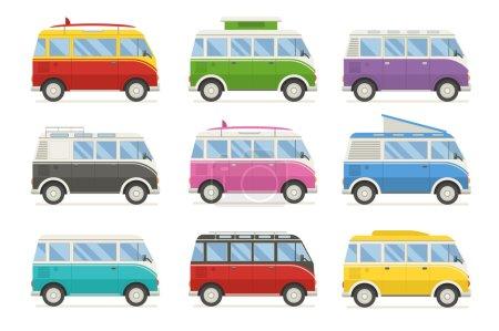 Illustration pour Collection colorée de bus de camping. Camionnettes de voyage en différentes couleurs. Ensemble de minifourgonnette d'autocar de voyage recolore pour le camping. Bus pour un voyage d'été en famille. Ensemble de dessins animés vectoriels. camping-car Rv isolé . - image libre de droit