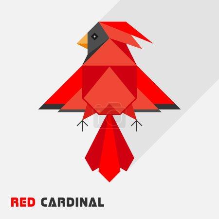 Abstract geometric red cardinal bird