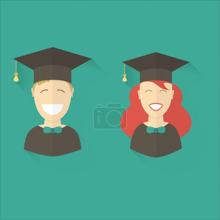 Illustration for Smiling graduation man and woman education students. Class school university success career pictogram. Graduates guy and girl in graduation hats vector icon. Happy and joy emotion concept. - Royalty Free Image