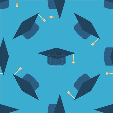 Graduation caps seamless background.