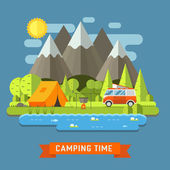 Camping Travel Flat Landscape