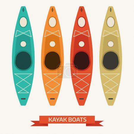 Kayak Boats Colorful Icons