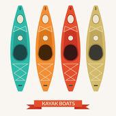 Kayak Boats Colorful Icons
