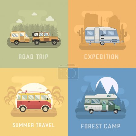Travel Concept Landscapes in Flat Design