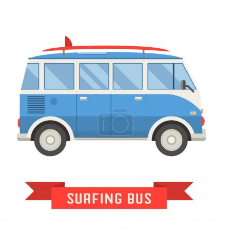 Vintage blue coach bus. Travel bus vector icon iso...