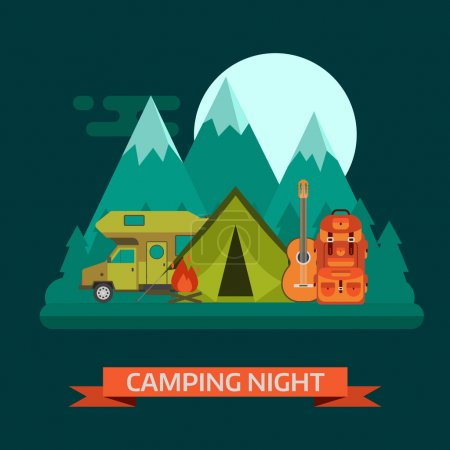 Illustration for Camping night concept landscape. Campsite place with camper van, tourist rucksack, guitar, campfire, forest, mountains and moon. Wilderness campsite area background. - Royalty Free Image