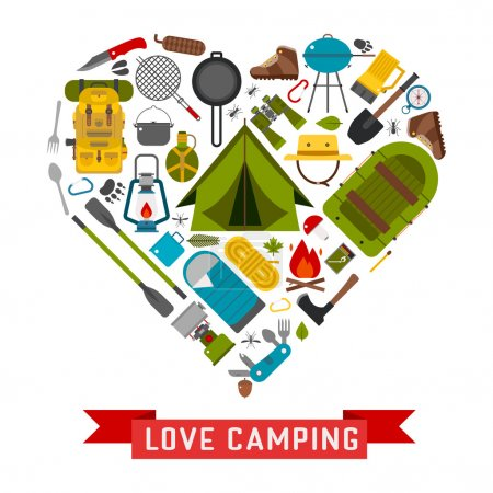 Illustration for Camp icons in heart shape. Love camping concept with vector hiking elements. Basecamp and hike equipment in creative form. - Royalty Free Image