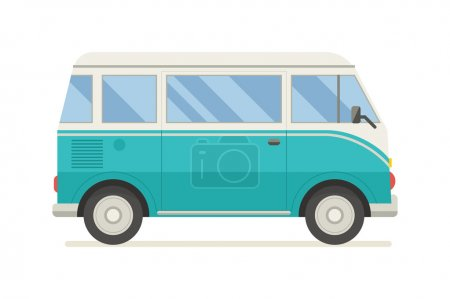 Illustration for Vintage aquamarine travel bus.  Camper cartoon van. Tourist coach in flat design with surf board. RV summer auto traveler isolated on white background. - Royalty Free Image