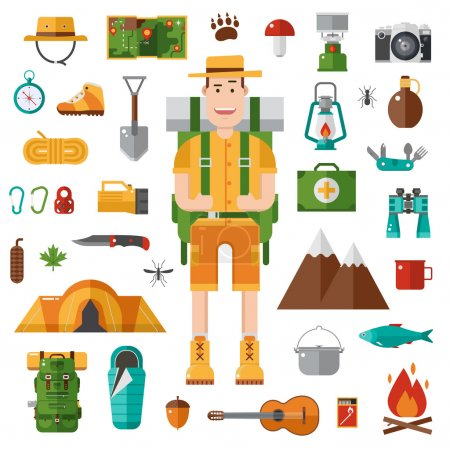 Illustration for Backpacker icons set. Camping kit of hike outdoor elements in flat style. Hiking gear collection and happy camper guy with tourist backpack. Vector travel hiker character isolated on white background. - Royalty Free Image