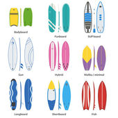 Different surfboards collection Surfing desks and boards set Various colors and styles Surfdesks isolated on white background Shortboards longboards