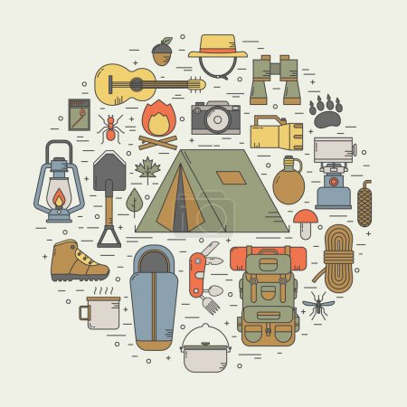 Illustration for Camping linear vector icons concept. Hiking outdoor elements in thin line design. Camp and hike gear outline collection. Binoculars, bowl, barbecue, boat, lantern, shoes, hat, tent appliances - Royalty Free Image