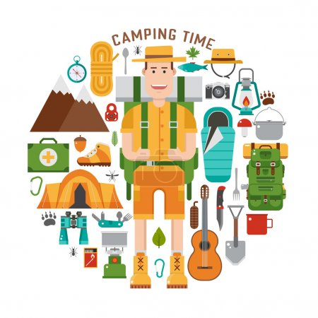 Illustration for Camping gear set. Backpacking element set. Hiking outdoor equipment in flat style. Hike and camp icons concept collection and vector travel hiker character isolated on white background. Backpacker man - Royalty Free Image