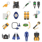 Scuba diving equipment icons set