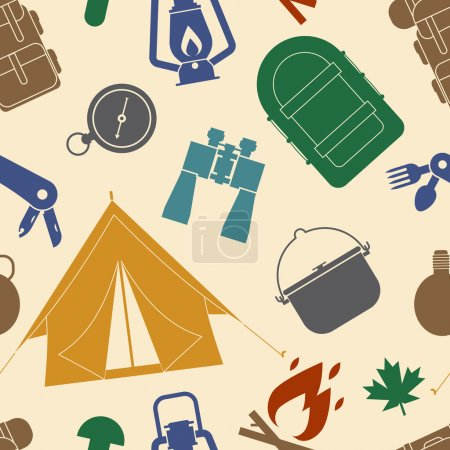 Illustration for Camping and Hiking Seamless Pattern. Camping seamless background of camp and hike elements. Summer adventure tourism tiling backdrop. - Royalty Free Image