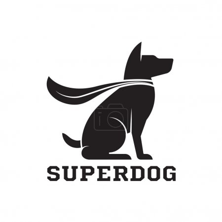 Illustration for Superdog outline emblem. Super dog hero in heroic cape emblem. Scotch terrier in cloak. - Royalty Free Image