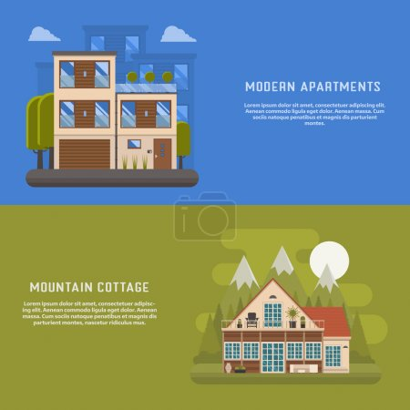 Illustration for Scandinavian design house banners for website and internet. Modern home backgrounds. Mountain cottage and urban apartments backdrop templates. Town suburbs building and mountain park area cottage. - Royalty Free Image