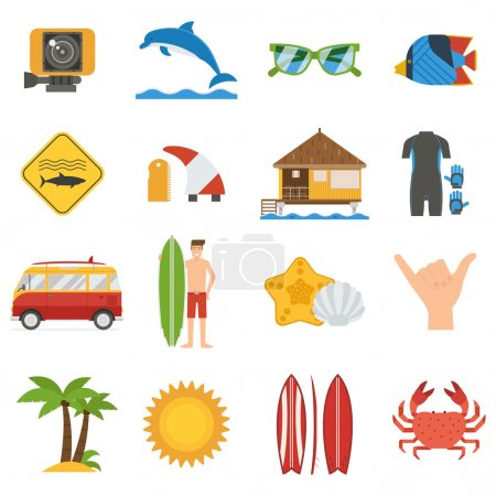 Surfing lifestyle and sea vacation icons