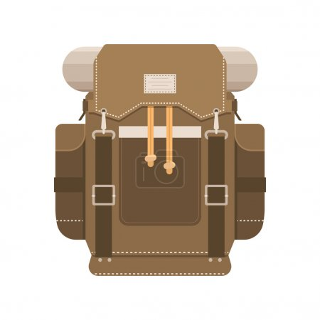 Illustration for Retro hiking backpack in flat design. Tourist rucksack with sleeping bag. Camping backpack vector illustration. Hiking bag icon. - Royalty Free Image
