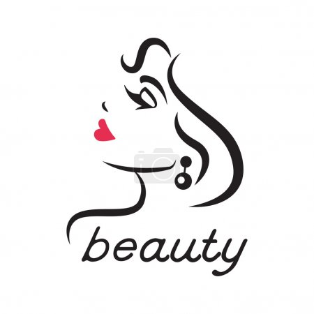 Illustration for Womans face in profile. Closed eyes and red lips. Vector illustration. - Royalty Free Image