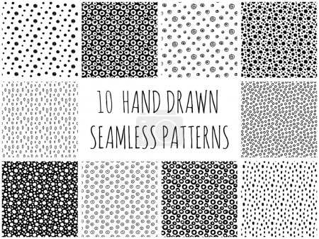 Illustration for Abstract polka dot pattern set with hand drawn dots. Cute vector black and white polka dot pattern set. Seamless monochrome polka dot pattern set for fabric, wallpapers, cards and web backgrounds. - Royalty Free Image