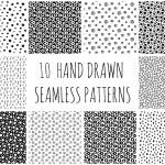 Постер, плакат: Hand Drawn Polka Dot Seamless Patterns Collection