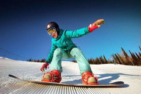 Girl try to improve snowboarding
