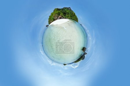 Little planet panorama of tropic beach