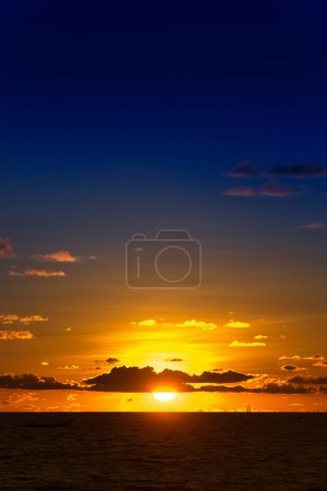 Photo for Beautiful orange sunset over the sea. Horizontal view - Royalty Free Image