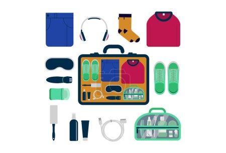 Travel kit, set of essential things for men.
