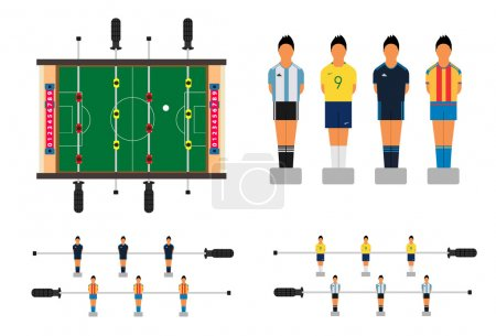 Table soccer set with kicker table and football players figures.