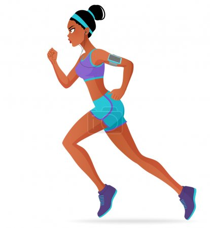 Photo for Young sporty black athlete woman running marathon with headphones. Cartoon vector illustration isolated on white background. - Royalty Free Image